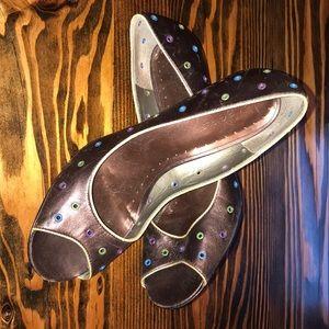 Metallic brown heels with multi color eyelets